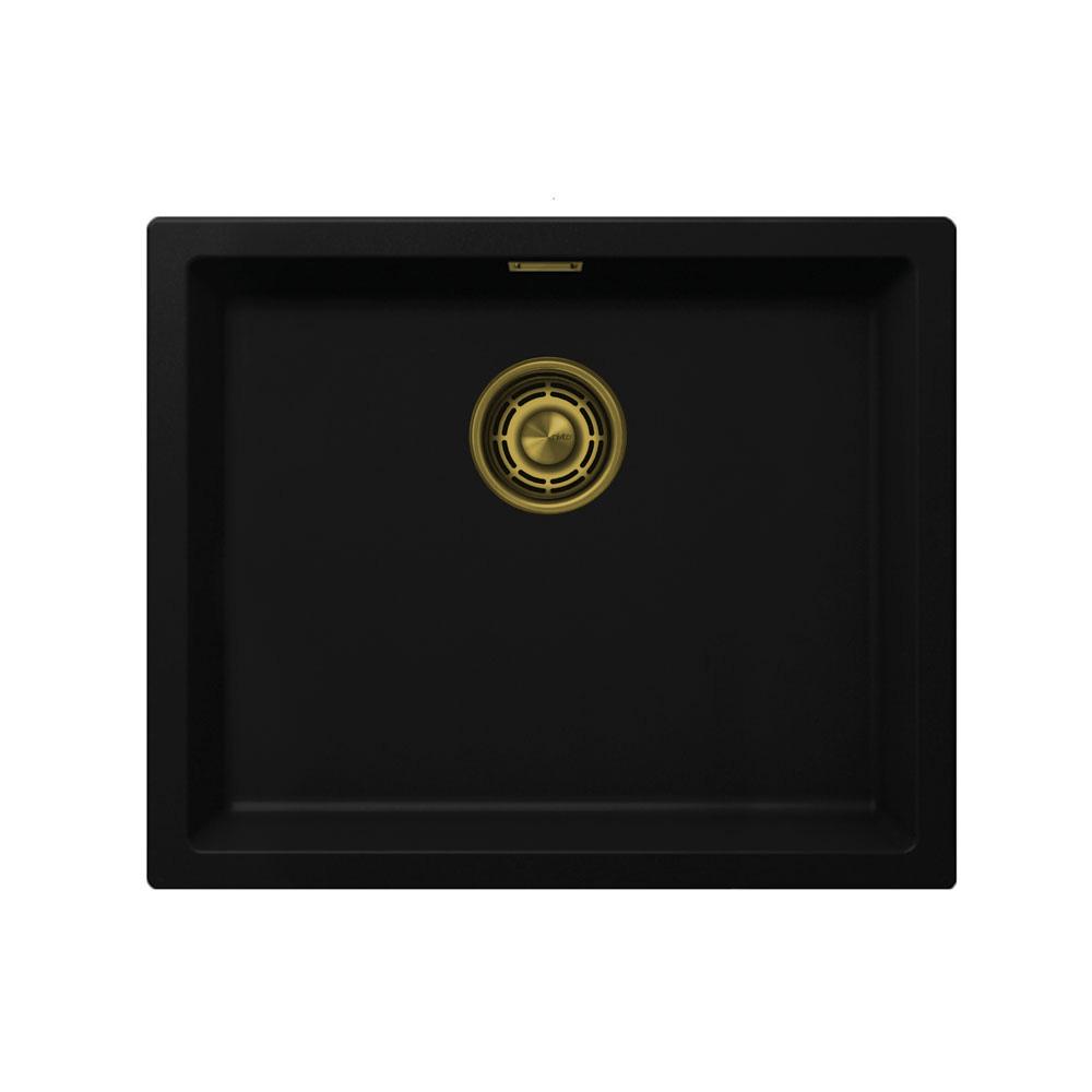 Black Kitchen Sink Brushed Gold Brass Strainer Waste Kit Color